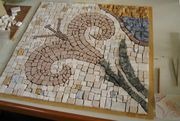 Mosaik Tischplatte, 60 x 60 cm