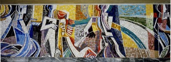 Imst, Urnenhalle. Mosaikfries, 88 cm x 33,90 m. 1996/7.