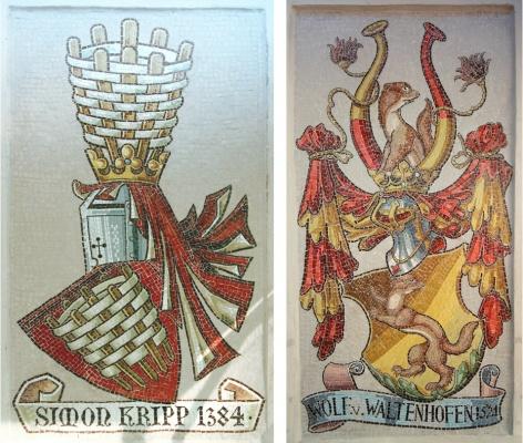 """Mosaik Wappen """"Kripp"""" und """"Waltenhofen"""""""